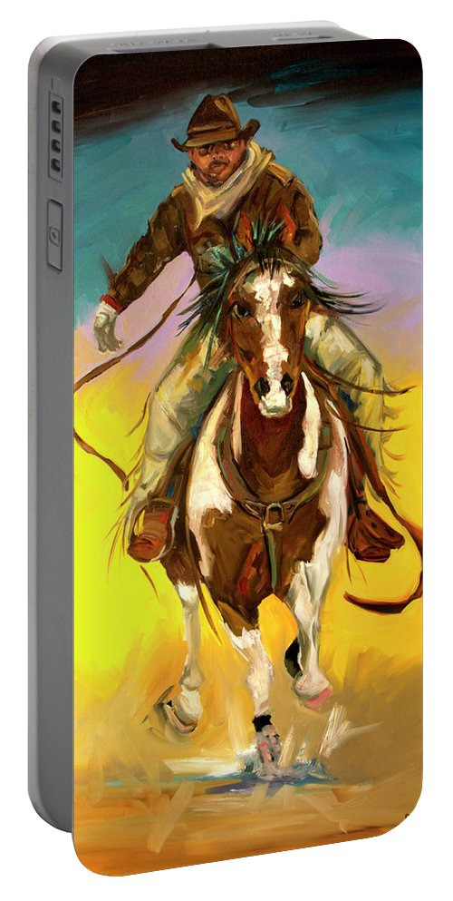 Cowboy Portable Battery Charger featuring the painting Coming at You by Diane Whitehead