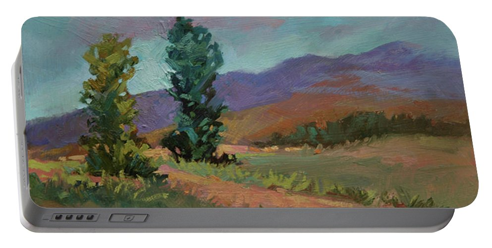 Cottonwood Paintings Portable Battery Charger featuring the painting Cottonwoods by Betty Jean Billups