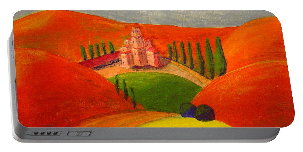 Landscape Portable Battery Charger featuring the painting Courtyard by Lilibeth Andre