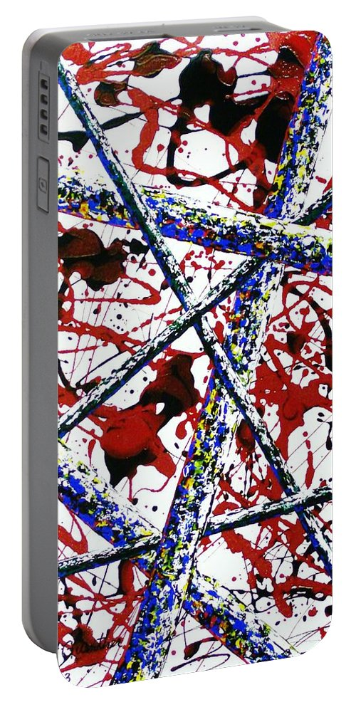 Contemporary / Abstract Portable Battery Charger featuring the painting Criss-Cross by Micah Guenther