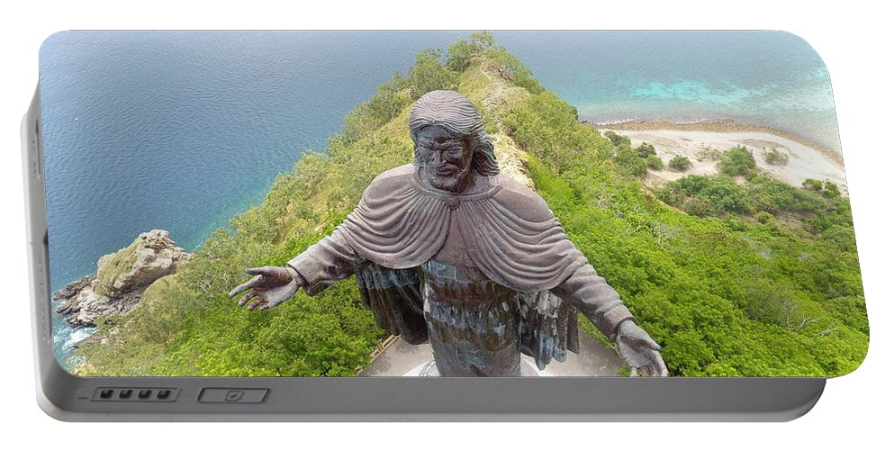Adventure Portable Battery Charger featuring the photograph Cristo Rei of Dili statue of Jesus by Brthrjhn2099