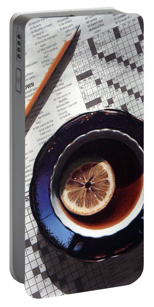Still Life Portable Battery Charger featuring the painting Crossword by Dianna Ponting