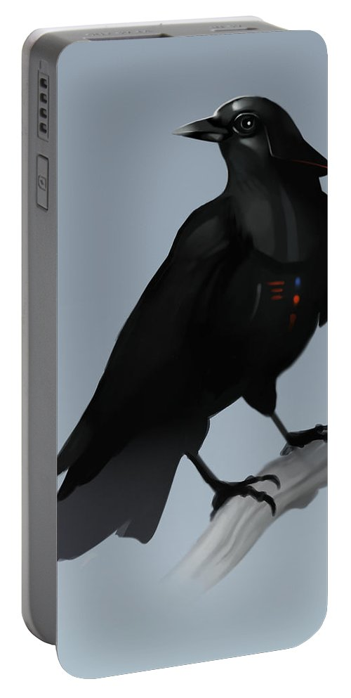 Birds Portable Battery Charger featuring the digital art Crow Vader by Michael Myers