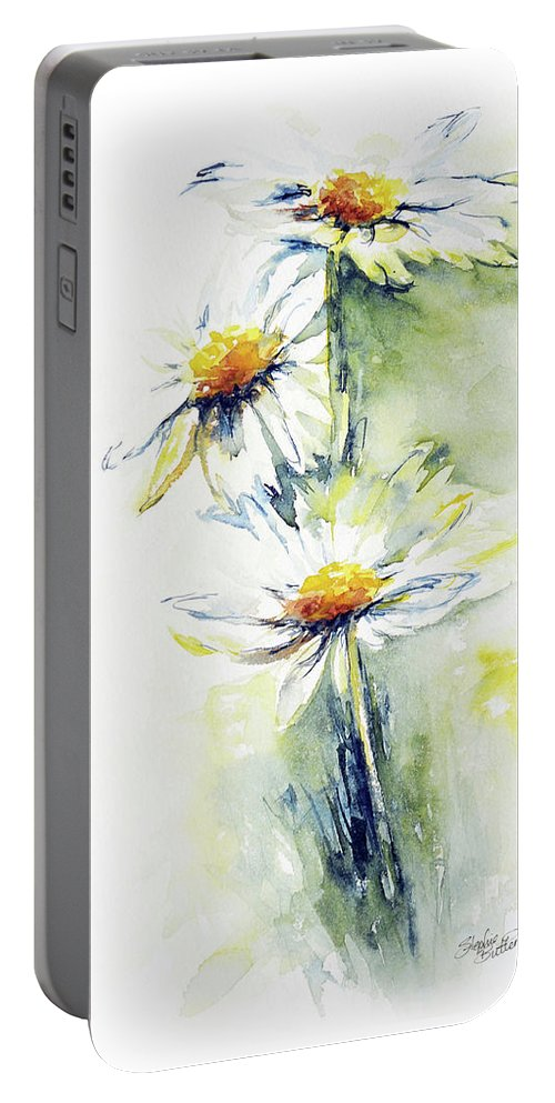 Flower Portable Battery Charger featuring the painting Daisy Chain by Stephie Butler