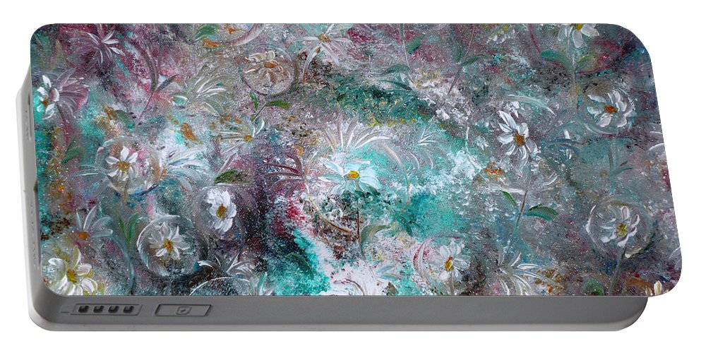 Original Flower Abstract Painting Portable Battery Charger featuring the painting Daisy Dreamz by Karin Dawn Kelshall- Best