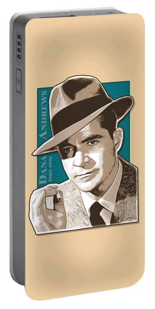 Dana Andrews Portable Battery Charger featuring the digital art Dana Andrews Pop Art by Greg Joens