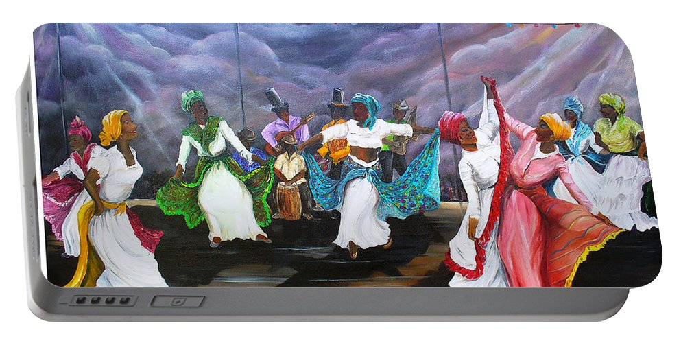 Caribbean Painting Original Painting Folklore Dance Painting Trinidad And Tobago Painting Dance Painting Tropical Painting Portable Battery Charger featuring the painting Dance The Pique by Karin Dawn Kelshall- Best