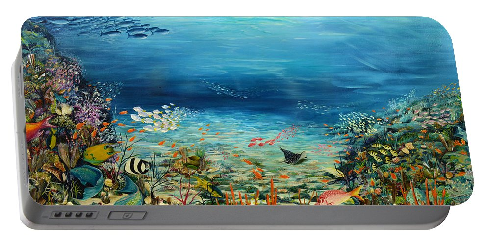 Ocean Painting Undersea Painting Coral Reef Painting Caribbean Painting Calypso Reef Painting Undersea Fishes Coral Reef Blue Sea Stingray Painting Tropical Reef Painting Tropical Painting Portable Battery Charger featuring the painting Deep Blue Dreaming by Karin Dawn Kelshall- Best