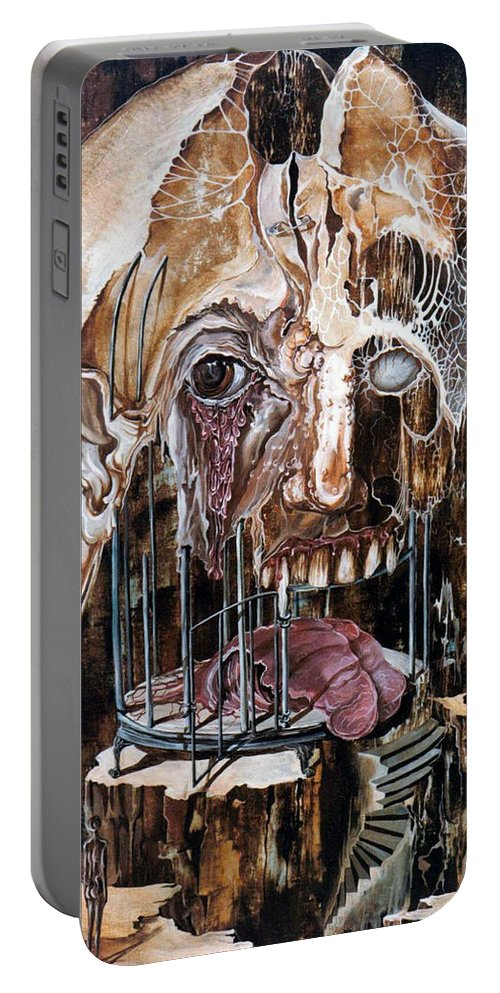Surrealism Portable Battery Charger featuring the painting Deterioration Of Mind Over Matter by Otto Rapp
