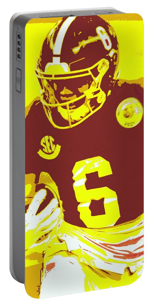 Devonta Smith Portable Battery Charger featuring the painting DeVonta Smith by Jack Bunds