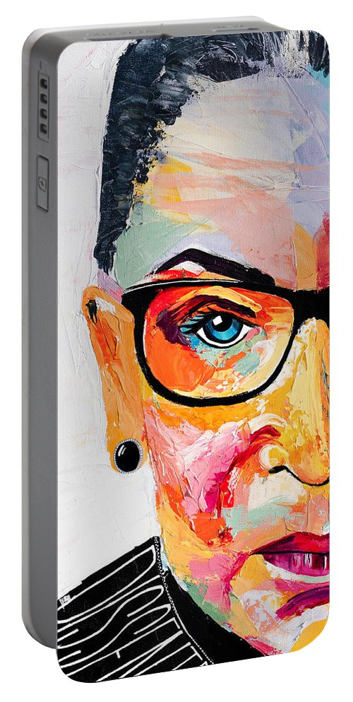 Portrait Portable Battery Charger featuring the painting Dissent - Cropped by LA Smith