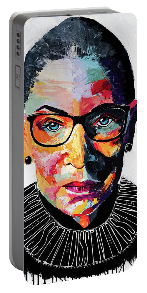 Portrait Portable Battery Charger featuring the painting Dissent by LA Smith