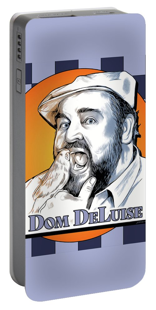 Dom Deluise Portable Battery Charger featuring the digital art Dom and the Bird by Greg Joens