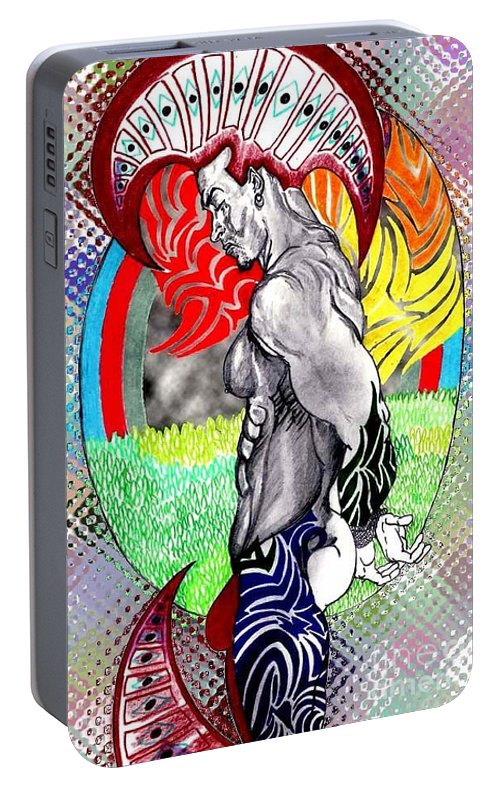 Male Portable Battery Charger featuring the drawing Don't Take My Mind On A Trip-jan. 23, 2007 by Antonio Tonyboy Garrett