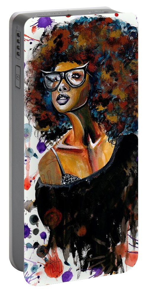 Sexy Portable Battery Charger featuring the painting Dope Chic by Artist RiA