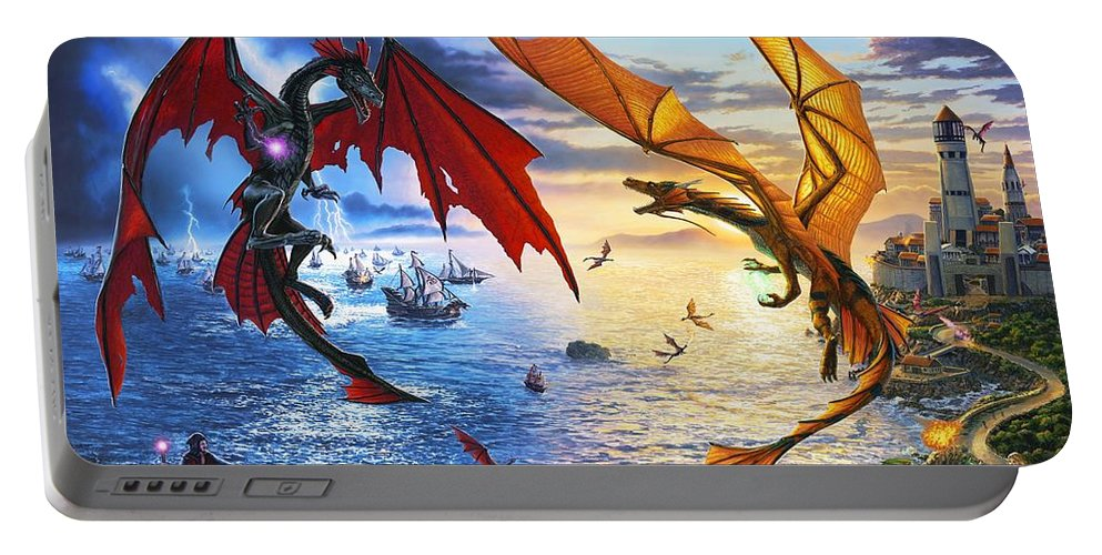 Dragon Portable Battery Charger featuring the painting Duel of the Dragon Wizards by Stu Shepherd