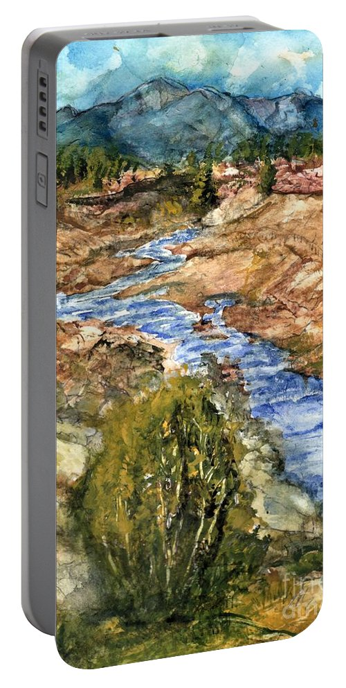 California Portable Battery Charger featuring the painting Eaton Canyon High Desert Creek by Randy Sprout