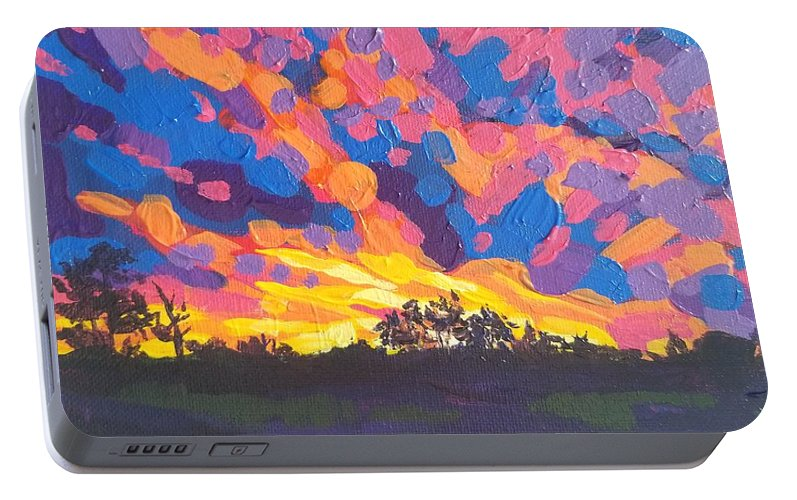 Bright Portable Battery Charger featuring the painting Ebullient Herald by Allison Fox