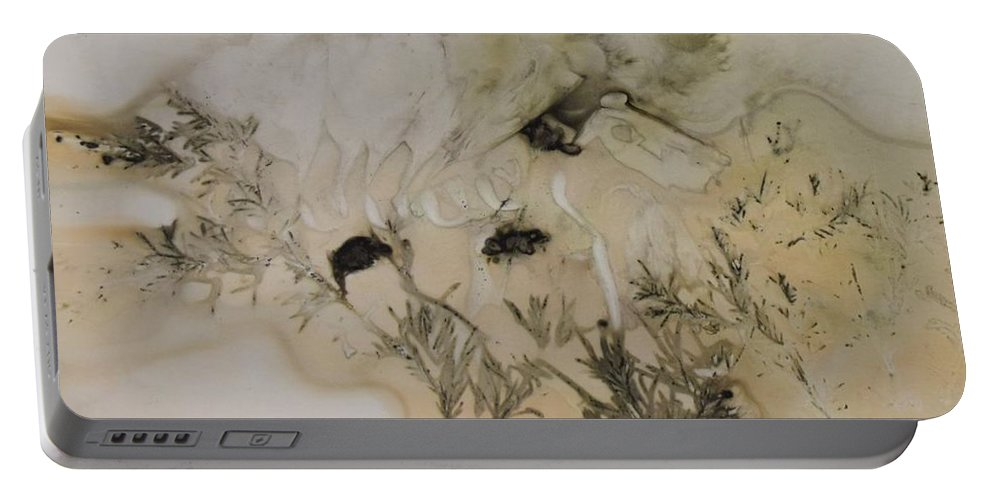 Nature Portable Battery Charger featuring the mixed media Eco print 5 by Charla Van Vlack