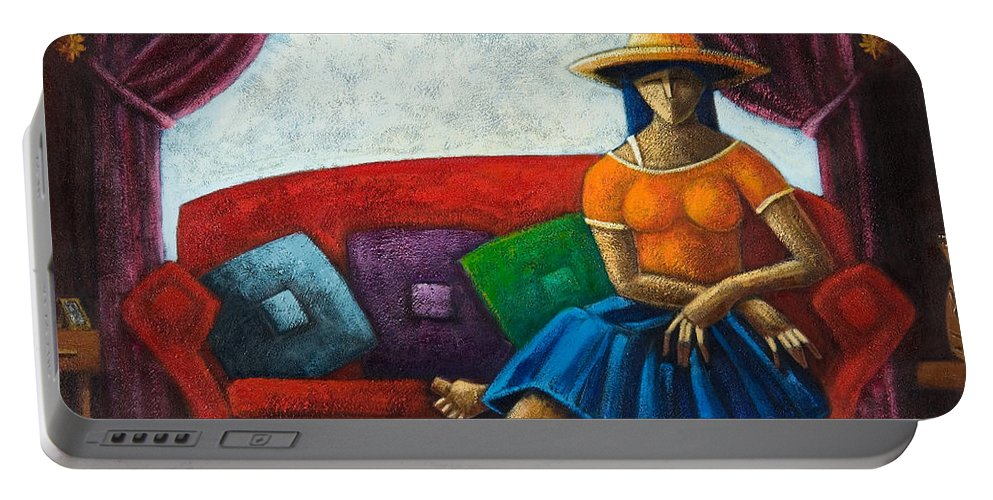 Puerto Rico Portable Battery Charger featuring the painting El Ultimo Romance Del Verano by Oscar Ortiz