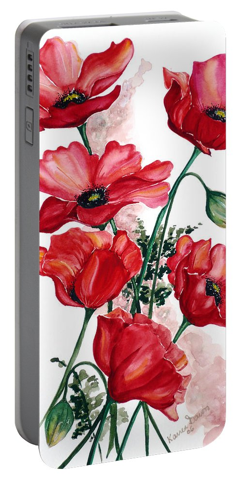 Original Watercolor Of English Field Poppies Painted On Arches Watercolor Paper Portable Battery Charger featuring the painting English Field Poppies. by Karin Dawn Kelshall- Best