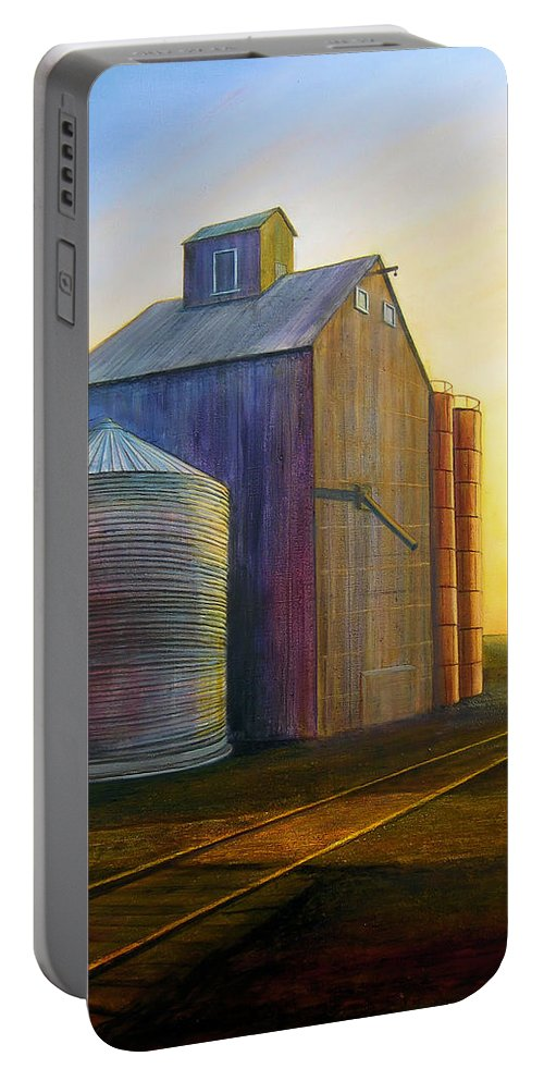 Silos Portable Battery Charger featuring the painting Estes Road Twilight by Leonard Heid