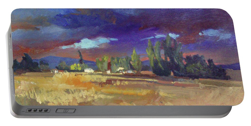 Autumn Paintings Portable Battery Charger featuring the painting Evening Autumn Fields by Betty Jean Billups