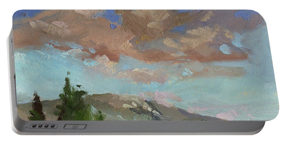 Sky Paintings Portable Battery Charger featuring the painting Evening Cloud Cover by Betty Jean Billups