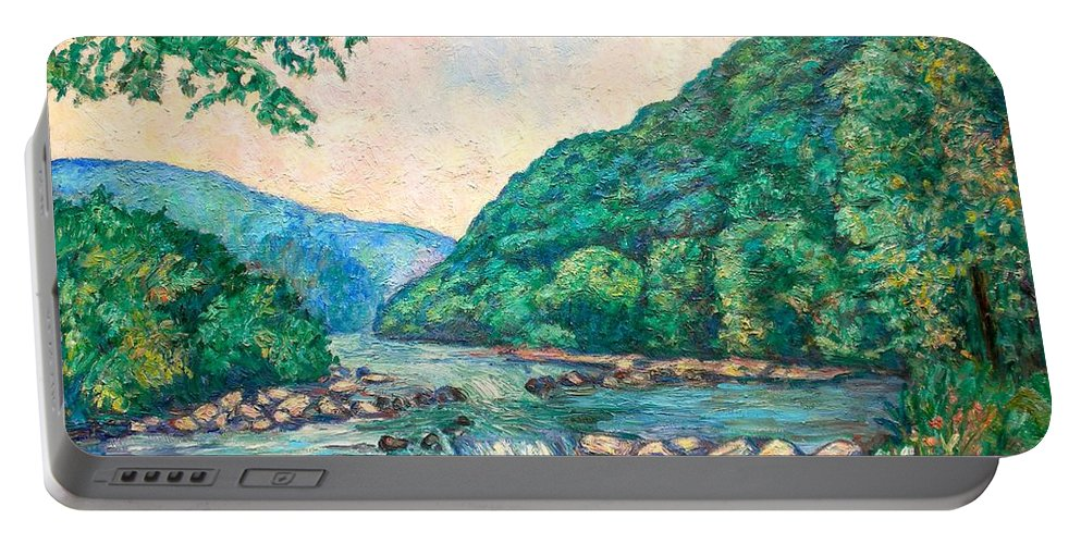 Landscape Portable Battery Charger featuring the painting Evening River Scene by Kendall Kessler