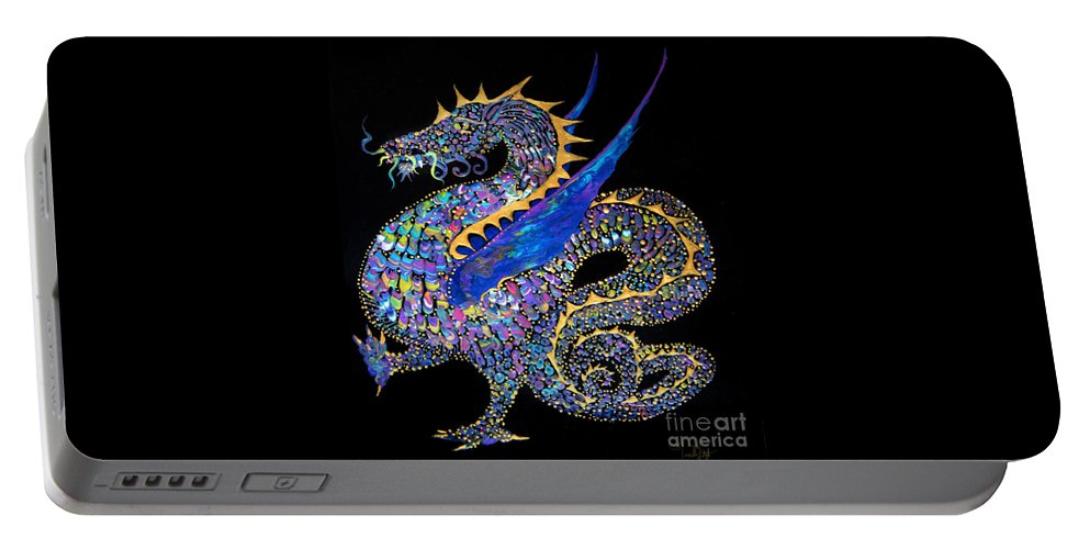 Dragon Fantasy-creature Dragon-illustration Winged-dragon Portable Battery Charger featuring the painting Fancy Dragon 7333 by Priscilla Batzell Expressionist Art Studio Gallery