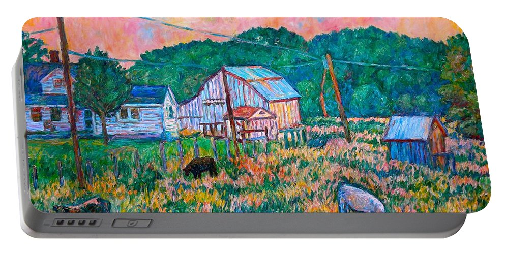 Landscape Portable Battery Charger featuring the painting Farm Near Fancy Gap by Kendall Kessler