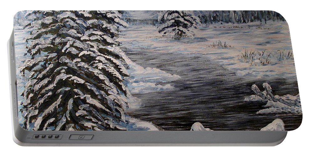 Winter Portable Battery Charger featuring the painting February in Canada by Ian MacDonald