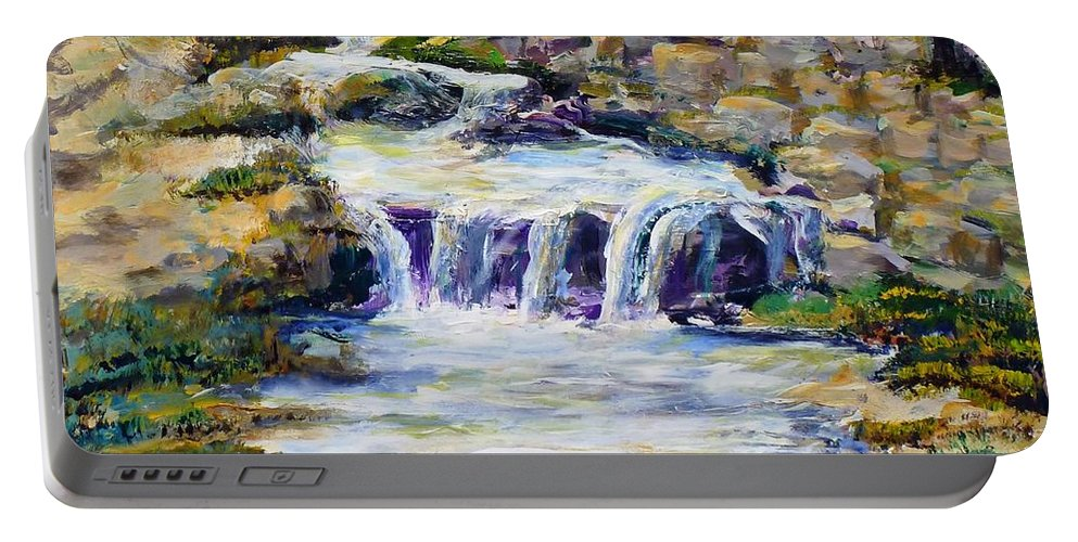 Los Angeles Portable Battery Charger featuring the painting Fern Dell Creek Noon by Randy Sprout
