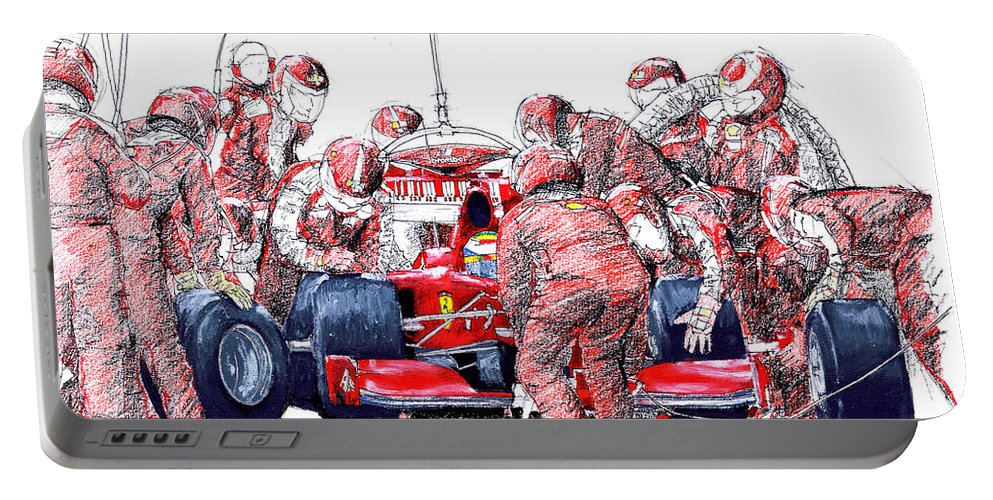 Ferrari Portable Battery Charger featuring the drawing Ferrari a boxes, pits, Original handmade drawing by Drawspots Illustrations
