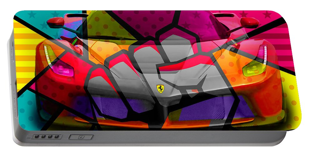Ferrari Formula 1 Cockpit Portable Battery Charger featuring the mixed media Ferrari Pop Art Power by Marvin Blaine