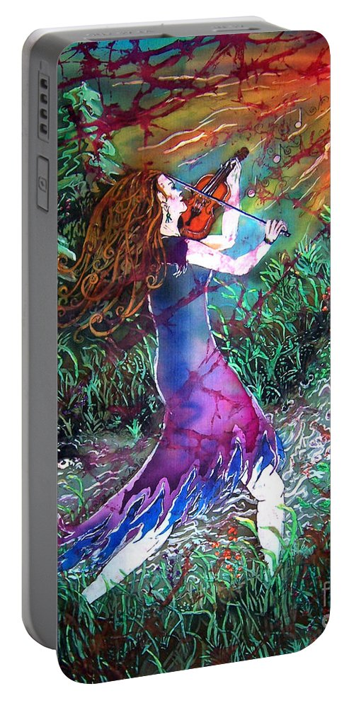 Fiddler Portable Battery Charger featuring the tapestry - textile Fiddler of the Forest 1 by Sue Duda
