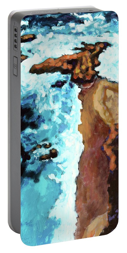Ocean Portable Battery Charger featuring the painting Flight Over Ocean by John Lautermilch