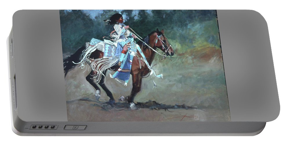 Native American Portable Battery Charger featuring the painting Foot Loose by Betty Jean Billups