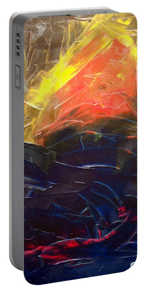 Duck Portable Battery Charger featuring the painting Forest .Part1 by Sergey Bezhinets