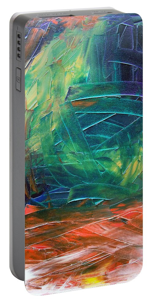 Painting Portable Battery Charger featuring the painting Forest.Part3 by Sergey Bezhinets