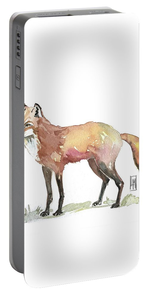 Fox Portable Battery Charger featuring the painting Foxy by Luisa Millicent