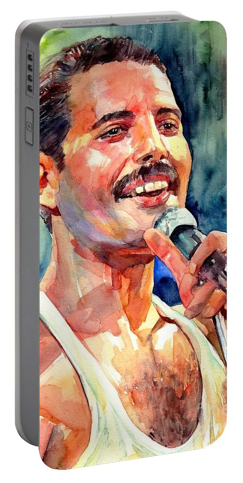 Freddie Mercury Portable Battery Charger featuring the painting Freddie Mercury Live Aid by Suzann Sines