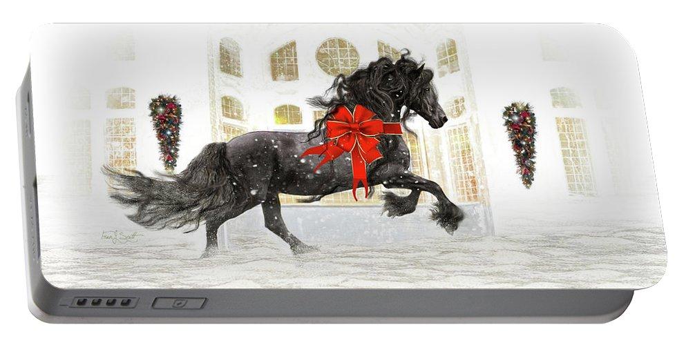 Friesian Portable Battery Charger featuring the digital art Friesian Christmas by Fran J Scott