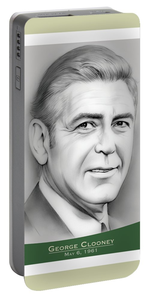 George Clooney Portable Battery Charger featuring the drawing George Clooney birthday by Greg Joens