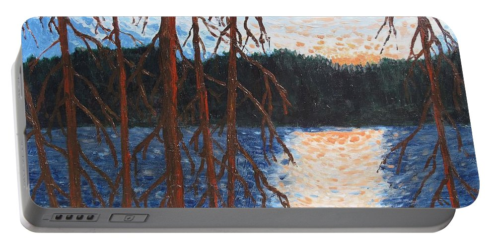 Setting Sun Portable Battery Charger featuring the painting Georgian Bay Ghosts by Ian MacDonald