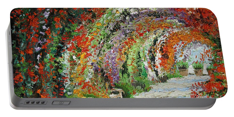Oil Portable Battery Charger featuring the painting Germany Baden-Baden Rosengarten 01 by Yuriy Shevchuk