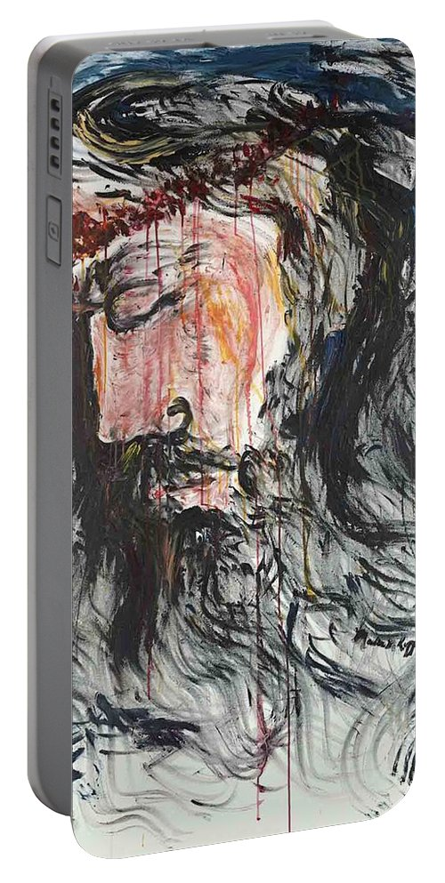 Jesus Portable Battery Charger featuring the painting Gethsemane to Golgotha by Nadine Rippelmeyer