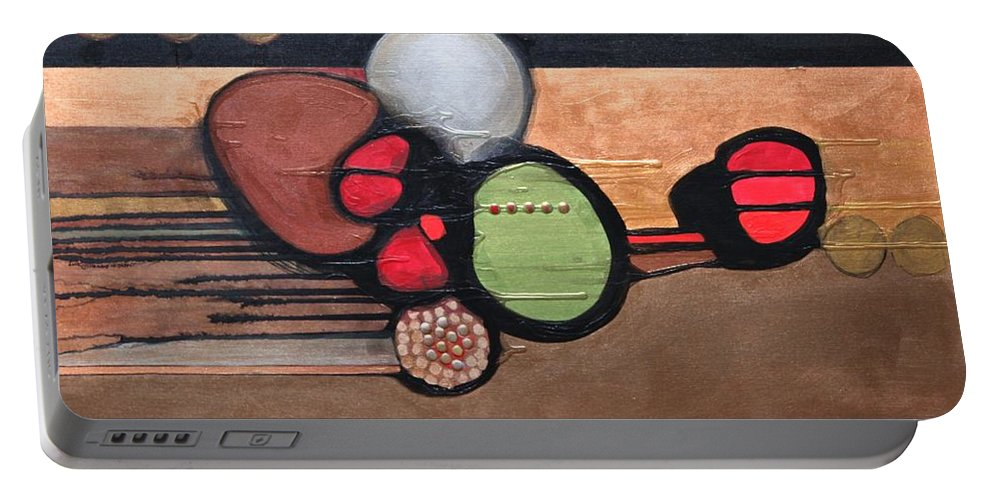 Abstract Portable Battery Charger featuring the painting Globtrotter by Marlene Burns
