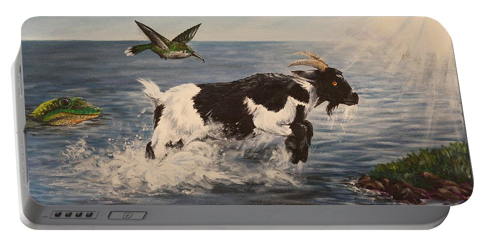 Goat Portable Battery Charger featuring the painting Goat in Ocean by Michelle Miron-Rebbe