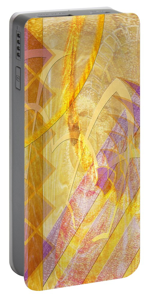 Gold Fusion Portable Battery Charger featuring the digital art Gold Fusion by John Robert Beck